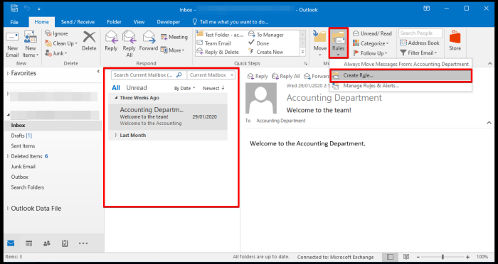 create rules via outlook desktop