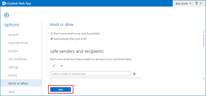 how to disable the Outlook Exchange spam filter step 6
