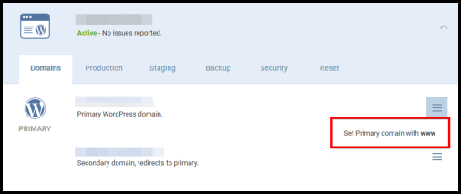 Set Primary domain with www option in WordPress Hosting manager