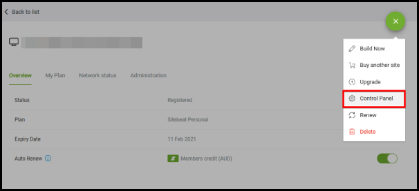 control panel option on website builder page