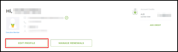 edit profile button via account manager