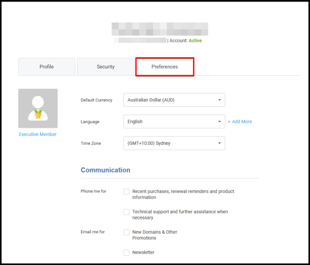 preferences tab on edit profile page