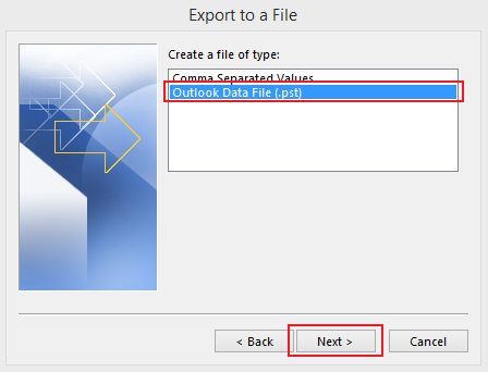 how to export data in Outlook 2013 step 4