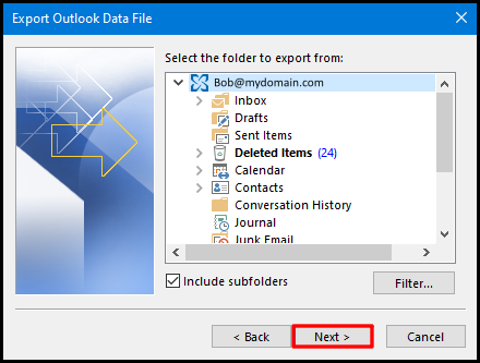 export data file on outlook 2019 mailbox