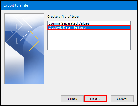 export data file on outlook 2016 pst file format