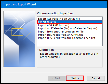 how to export data file on outlook 2019