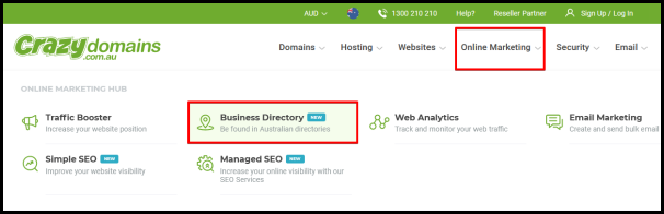 business directory option on crazy domains main page