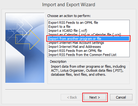 import data to Outlook 2010 step 3