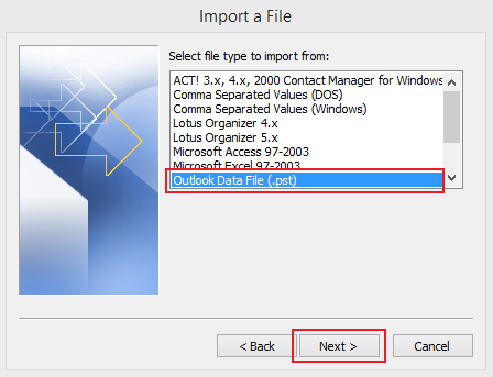 import data to Outlook 2010 step 4