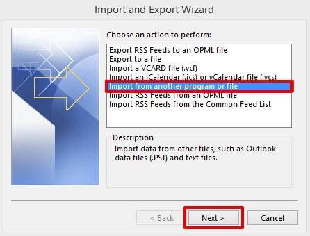 importing data in Outlook 2013 step 3