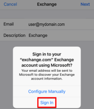 MS Email Exchange setup instructions for iPhone and iPad step 6