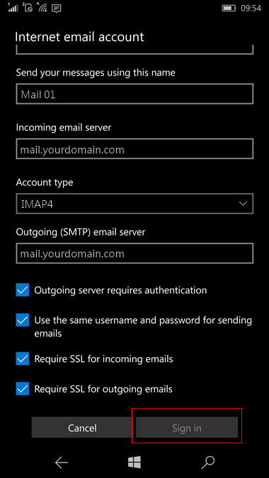 set up Windows 10 mobile to send and receive email Step 11