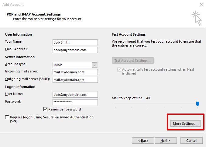 setting up outlook 2013 to check email step 6