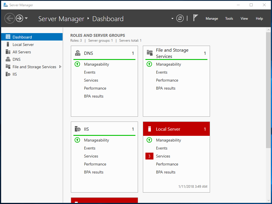 Server Manager Dashboard