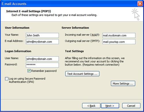 outlook 2003 setup step 5