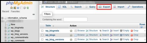 WordPress Hosting export database file to transfer hosting