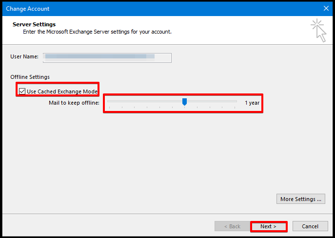 configure window on Outlook to set cached mode