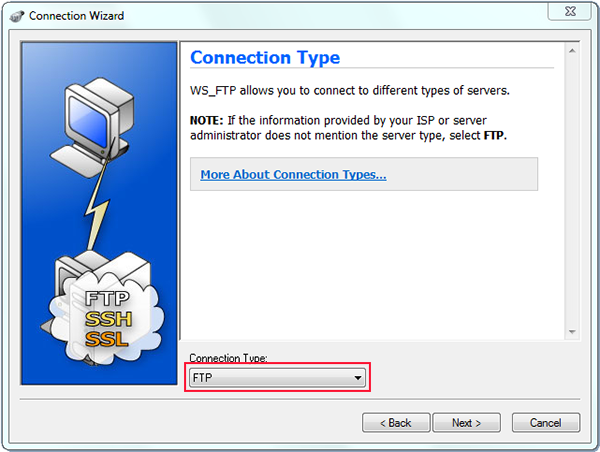 using ws to ftp to upload with connection wizard and connection type