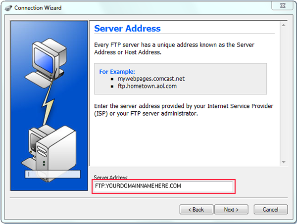 using ws to ftp to upload with connection wizard and server address
