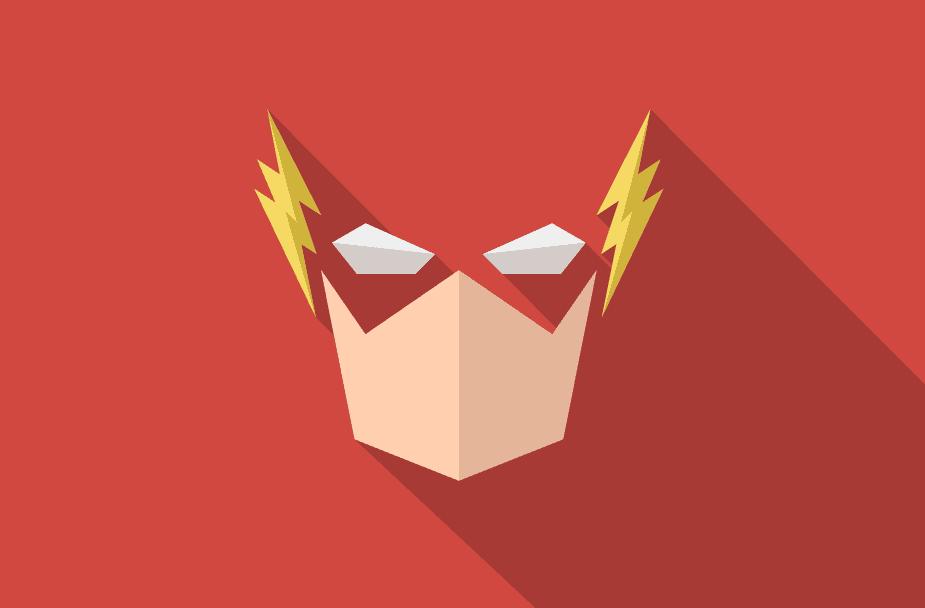 mask men with side lightning on a red background